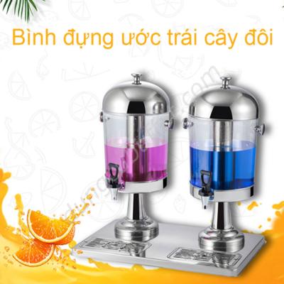 Bình nước hoa quả buffet 16 lít 2 ngăn cổ chân inox BC2205-2