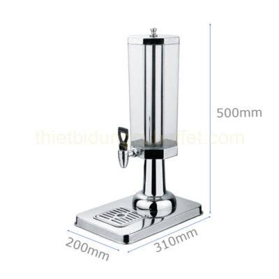 Kích thước Bình nước buffet 3 lít 1 ngăn cổ chân nhựa bát giác BC2225-1
