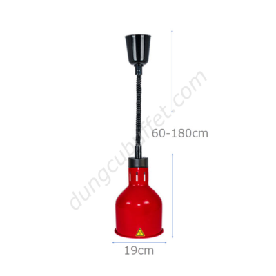kích thước Đèn giữ nóng thức ăn buffet treo trần inox màu đỏ DA2507