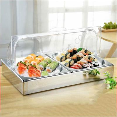 Khay đựng thức ăn lạnh inox chữ nhật 2 ngăn KB1140-2