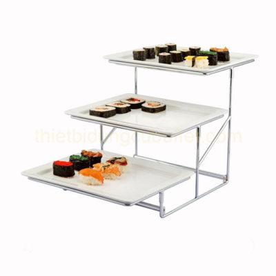 Kệ để khay thức ăn buffet 3 tầng bằng khay menlamine KB27-T20