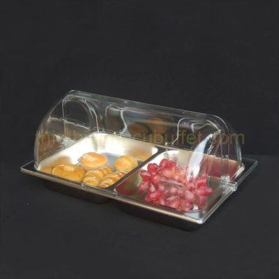 Khay đựng thức ăn inox chữ nhật có nắp PC KB2703-65