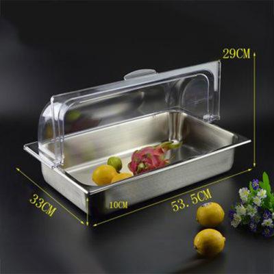 Kích thước Khay đựng thức ăn inox chữ nhật có nắp PC KB2704-100