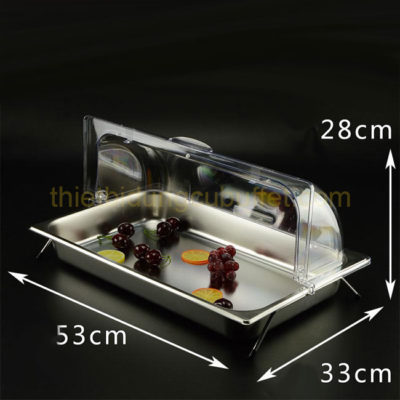 Kệ khay inox đựng thức ăn 1 ngăn nắp PC KB2706-165