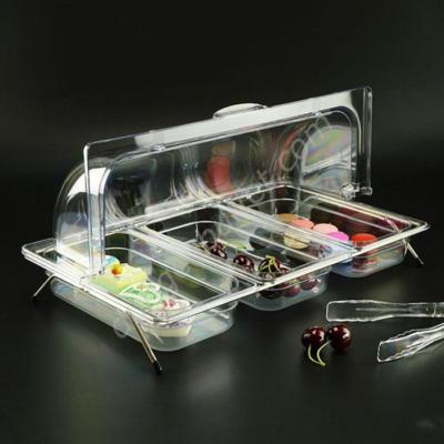 Kệ để khay nhựa đựng thức ăn có nắp PC 3 ngăn KB2706-N365