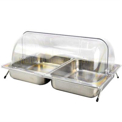 Kệ khay inox đựng thức ăn 2 ngăn nắp PC KB2706-265