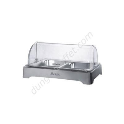 Khay inox đựng thức ăn buffet chữ nhật nắp PC KB3301