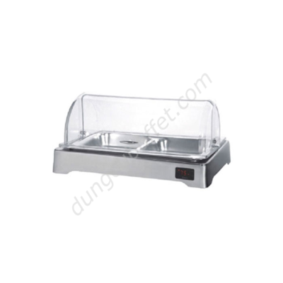 Khay inox đựng thức ăn buffet chữ nhật dùng điện nắp PC KB3309