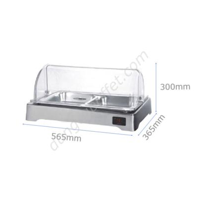 kích thước Khay inox đựng thức ăn buffet chữ nhật dùng điện nắp PC KB3309