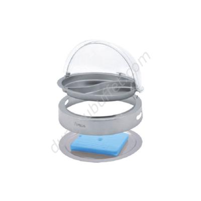 Khay inox đựng thức ăn buffet tròn giữ lạnh nắp PC KB3306