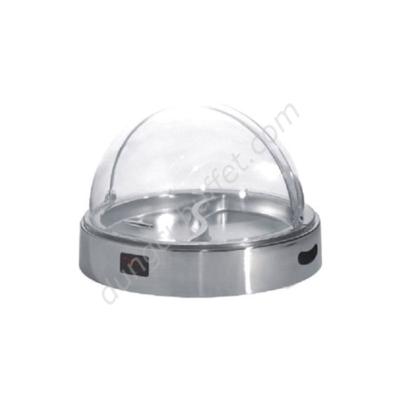 Khay inox đựng thức ăn buffet tròn dùng điện nắp PC KB3310