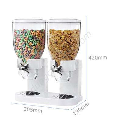 kích thước Bình đựng ngũ cốc 2 ngăn nhựa trắng giá rẻ NC2401-2