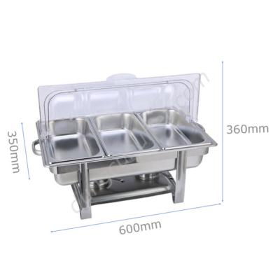 Kích thước Nồi buffet chữ nhật giá rẻ 3 ngăn nắp PC NF2112-3