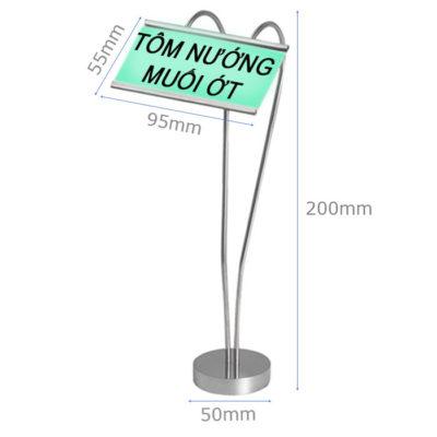Kích thước Kẹp menu để bàn cao 250 hình tim CM66-250