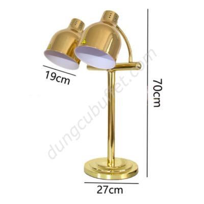 kích thước Đèn hâm nóng buffet 2 bóng inox mạ vàng DA2537-2