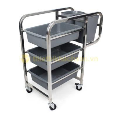 Xe đẩy thu dọn bàn ăn inox khung vuông XB1501