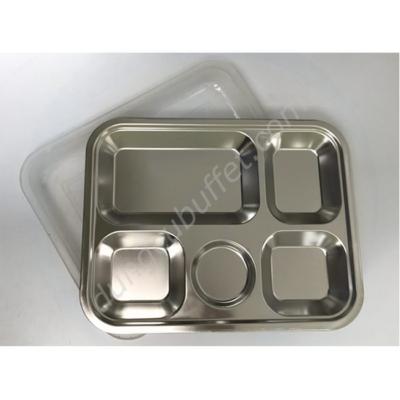 Khay đựng cơm inox 5 ngăn có nắp đậy inox 304 KC2929N-304