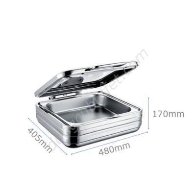 Kích thước Nồi buffet vuông inox 304 nắp kính thủy lực dùng trên bếp từ NF2167