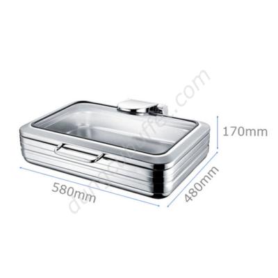 Kích thước Nồi buffet chữ nhật inox 304 nắp kính thủy lực dùng trên bếp từ NF2168