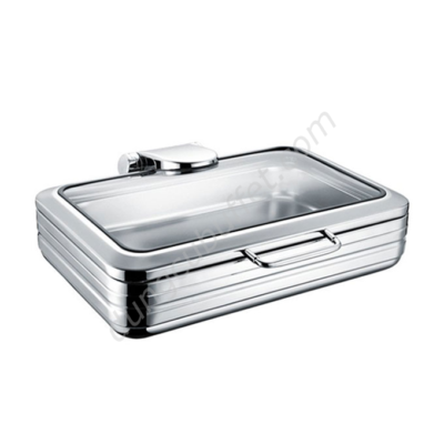 Nồi buffet chữ nhật inox 304 nắp kính thủy lực dùng trên bếp từ NF2168