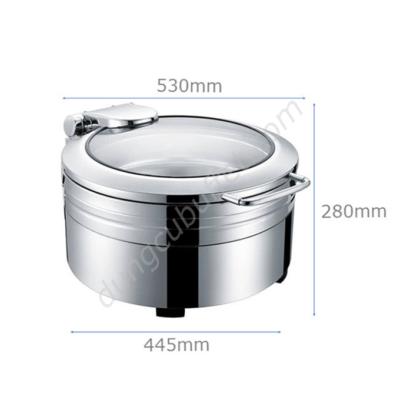 Kích thước Nồi buffet tròn inox 304 nắp kính thủy lực dùng điện NF2171