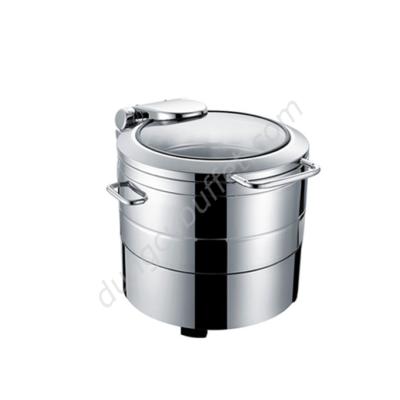 Nồi soup buffet tròn inox 304 nắp kính thủy lực dùng điện NF2172