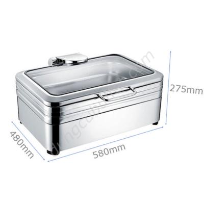 Kích thước Nồi buffet chữ nhật inox 304 nắp kính thủy lực dùng điện NF2174