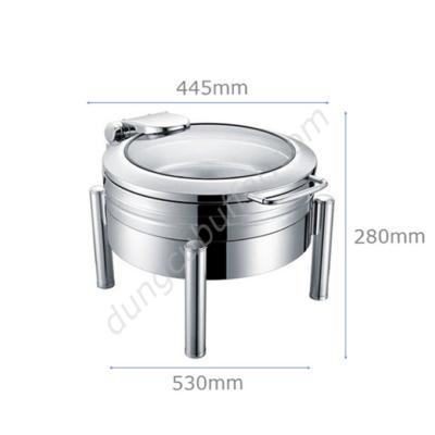 Kích thước Nồi buffet tròn inox 304 nắp kính thủy lực chân tròn NF2186