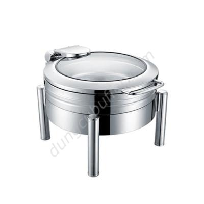 Nồi buffet tròn inox 304 nắp kính thủy lực chân tròn NF2186