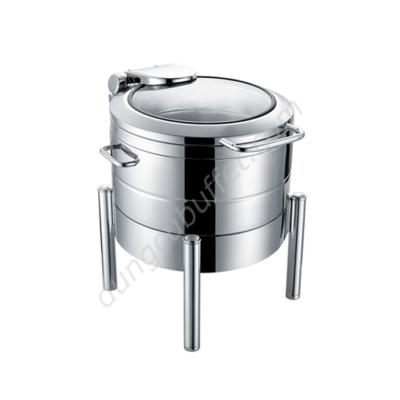 Nồi hâm soup buffet tròn inox 304 nắp kính thủy lực chân trụ tròn NF2187