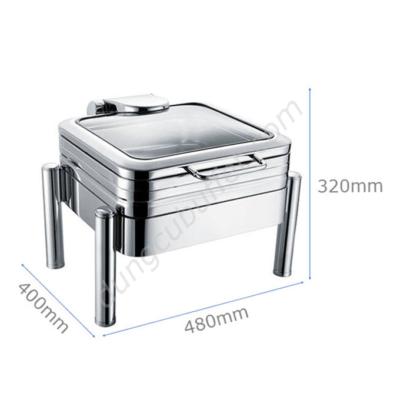 Kích thước Nồi hâm buffet vuông inox 304 nắp kính thủy lực chân tròn NF2188