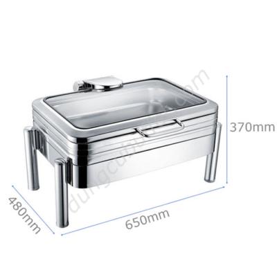 Kích thước Nồi hâm buffet chữ nhật inox 304 nắp kính thủy lực chân tròn NF2189