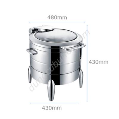 Kích thước Nồi soup buffet tròn inox 304 nắp kính thủy lực chân kiểu NF2192