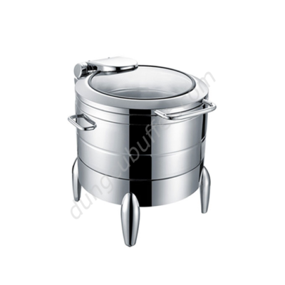 Nồi soup buffet tròn inox 304 nắp kính thủy lực chân kiểu NF2192