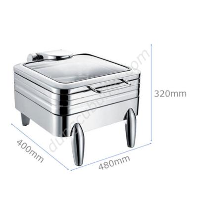 Kích thước Nồi hâm buffet vuông inox 304 nắp kính thủy lực chân kiểu NF2193
