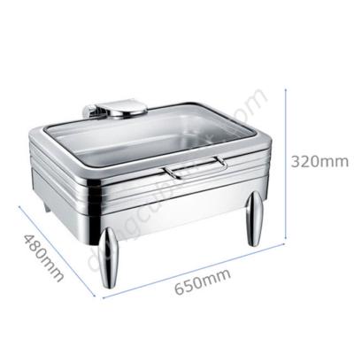 Kích thước Nồi hâm buffet chữ nhật inox 304 nắp kính thủy lực chân kiểu NF2194