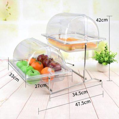 kích thước Kệ khay đựng thức ăn buffet 2 tầng khay 1/2 nhựa nắp PC KB2724-65