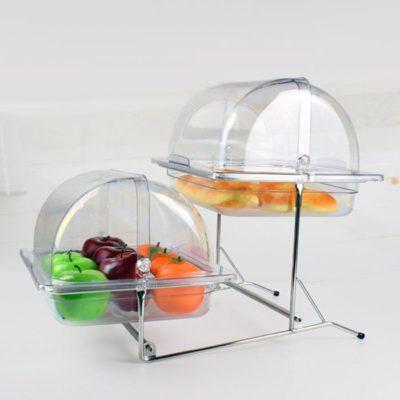 Kệ khay đựng thức ăn buffet 2 tầng khay 1/2 nhựa nắp PC KB2724-65